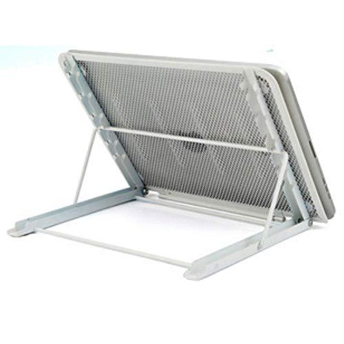ACKTECH Laptop Stand, Foldable Portable Ventilated Desktop Laptop Holder, laptop Cooling raiser compatible with laptop/Mac/Notebook/tablet, Universal Lightweight & Adjustable Ergonomic holder (Silver)