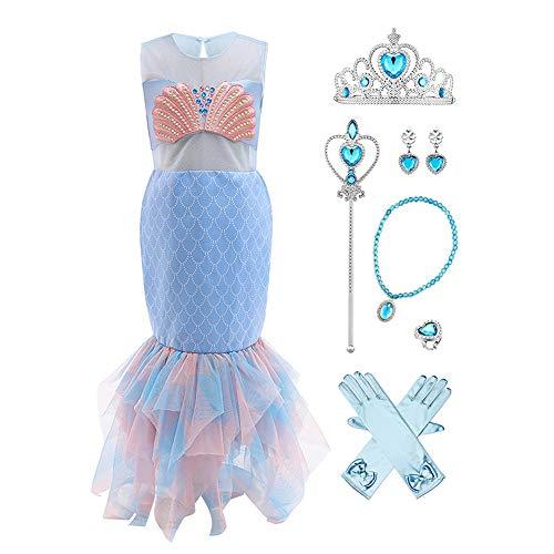 Disfraz infantil de sirena, disfraz de princesa, disfraz de sirena, disfraz de carnaval, cosplay, cumpleaos, fiesta, Halloween, carnaval, fiesta de disfraces, vestido de fiesta azul-2 3-4 Aos