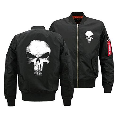 SWISSROAD Herren Punisher Skull College Jacke Kapuzenjacke Sweatjacke Punishe Hoodie Kapuzenpullover Und Fleece-Innenseite Outdoor Übergangsjacke