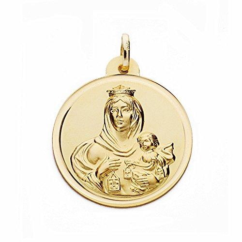 Medalla Oro 18K Virgen Del Carmen 24mm. Bisel Lisa [Aa2508Gr] - Personalizable - Grabación Incluida En El Precio