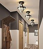 Goeco Moderna Lámpara techo, LED Chandelier 22W, para Armario Pasillo Balcón, Luz blanca cálida, negro