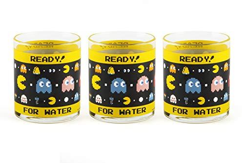 Excelsa Pac Man juego de 3Vasos de cristal, Transparentes con decoración Ready for Water