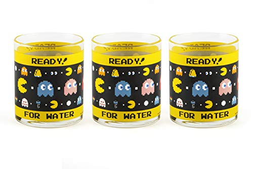 Excelsa Pac Man juego de 3 Vasos de cristal, Transparentes con decoración Ready for Water