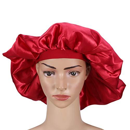 Holibanna Extra Large Satin Sleeping Cap Wide Band Bonnet Hat Elastic Curly Long Hair Hat