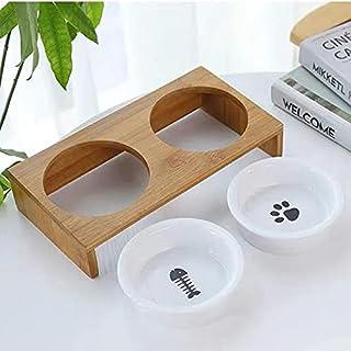 餌入れ 竹製 ペット用食器台 犬用 猫用 食器台 餌台 犬猫えさ入れ ごはん皿 水入れ フードボウルスタンドセット