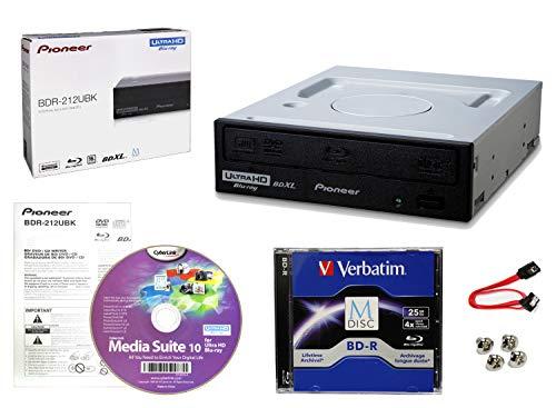 Pioneer BDR-212UBK Internes 16x Blu-ray Writer-Laufwerkspaket mit Cyberlink-Brennsoftware, 25 GB M-DISC BD-R DL, SATA-Kabel und Befestigungsschrauben - Brennt CD DVD BD DL BDXL-Discs