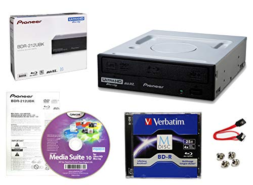 Pioneer BDR-212UBK Internal 16x Blu-ray Writer Drive Bundle with Cyberlink Burning Software, 25GB M-DISC BD-R, SATA Cable and Mounting Screws - Burns CD DVD BD DL BDXL Discs