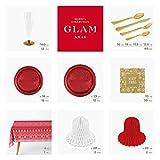 Horeca Collection [Pack Ahorro] Kit de vajilla desechable Elegante Merry Xmas Rojo & Oro - Incluye Mantel, Platos, Cubiertos, Copas, servilletas y decoración - 12 Personas