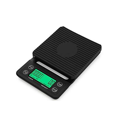 Báscula de café por goteo con temporizador Báscula de cocina digital electrónica portátil Básculas electrónicas LCD de alta precisión (black 5kg)