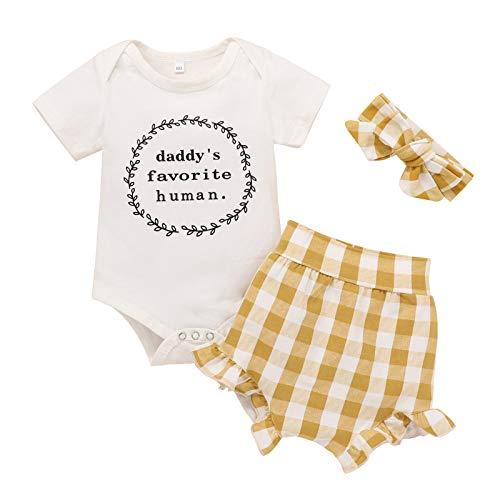 Soolike 0 a 24 Meses Recien Nacido Bebe Niña Ropa De Pelele Estampado Conjunto/3pc, Monos De Manga Corta + Pantalón + Gorro