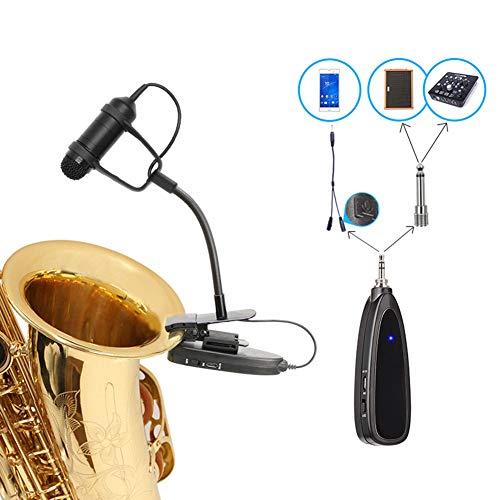 Draadloze instrumenten Saxofoonmicrofoon, 2.4G draadloze microfoon, houtblazersmicrofoon voor luidspreker/professioneel muzikaal orkest/trompet
