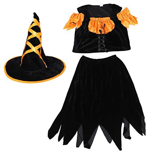 SOIMISS Disfraz de Bruja de Halloween Vestido Negro Gtico con Sombrero de Bruja Regalos para Mujeres Nias Disfraz de Casa Embrujada Suministros de Fiesta de Cosplay Favores