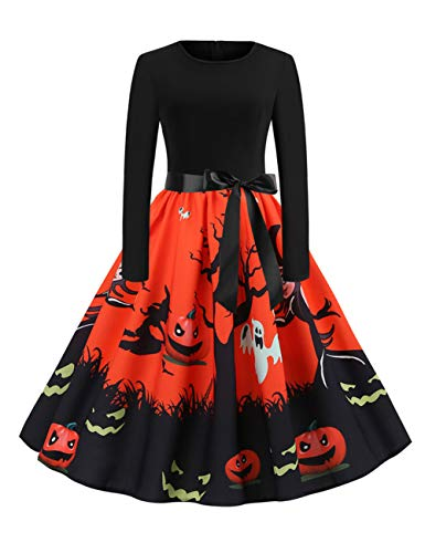 FeelinGirl Halloween Vintage Kleid 1950er Elegante Retro Rockabilly Kleider Cocktailkleid Faltenrock...