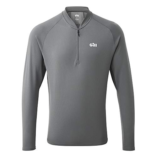Gill Herren Millbrook Zip T-Shirt T - Top - Stahlgrau - Leichte UV Protection und SPF - Properties