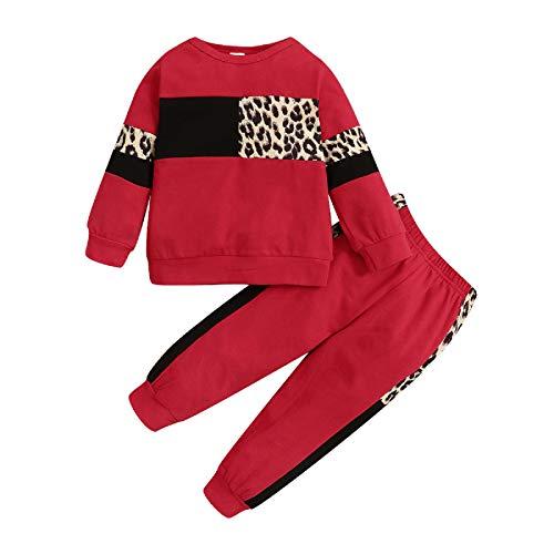 Soapow Conjunto de 2 piezas para niños pequeños Trajes Conjunto de Ropa Pullover Sudadera con Capucha Sudadera+Pantalones, rosso, 4-5 años
