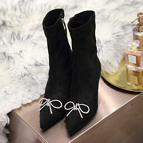 Shukun enkellaarsjes over de knielaarzen vrouwelijke puntige strik steentjes Stiletto riemen elastische laarzen Stovepipe hoge laarzen