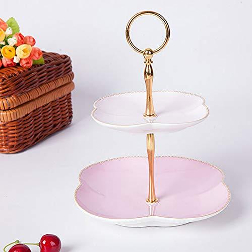 Dessertdienblad Gedroogd Fruit Bowl Fruit Basket Fruit Bowl 2 Layer Tool Catchy Europese Klaver Stijl voor De Keuken Decoratie Plaat Fruit Plaat Keramisch roze