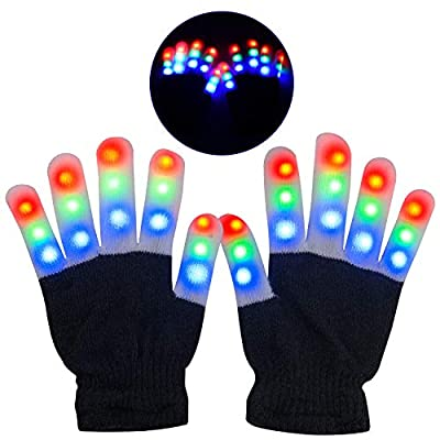 Yostyle LED Gloves, Light Up Gloves Finger Lights 3 Colors 6 Modes Flashing LED Warm Gloves Colorful Flashing Rave Glow Gloves Kids Toys for Christmas Halloween Party Favors,Gifts for Children