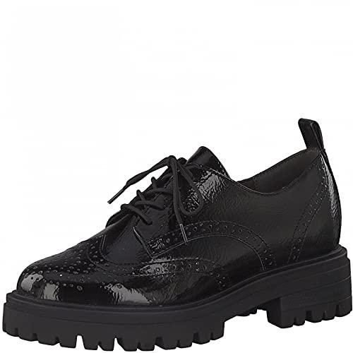 Tamaris Damen Schnürhalbschuhe, Frauen Businessschuhe,Comfort Lining,TOUCHit-Fußbett,Strassenschuhe,lace-up,Shoes,Black PATENT,39 EU / 5.5 UK
