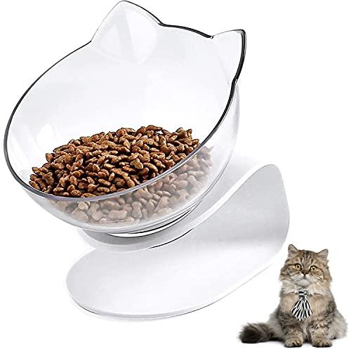Ciotola per gatti con supporto rialzato, con piattaforma inclinabile a 15°,antiscivolo,per cibo e acqua per gatti e cani di piccola taglia(A Clear)
