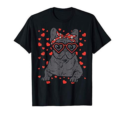 French Bulldog Heart Glasses Valentine Day Frenchie Dog Gift T-Shirt