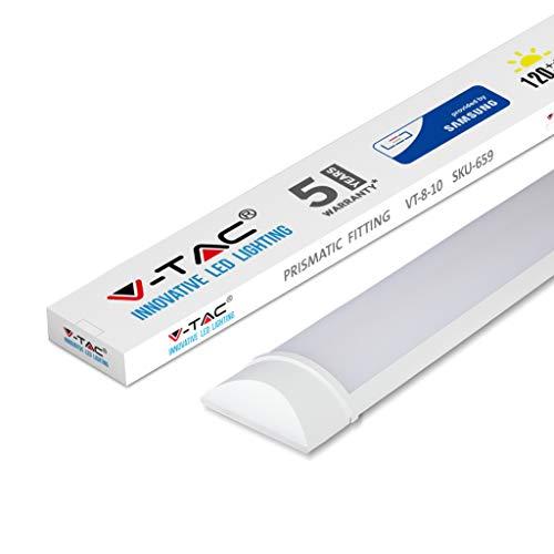 V-TAC LED Batten Raccords Lampe Tube Intégré, Plastique, blanc chaud, 10 W