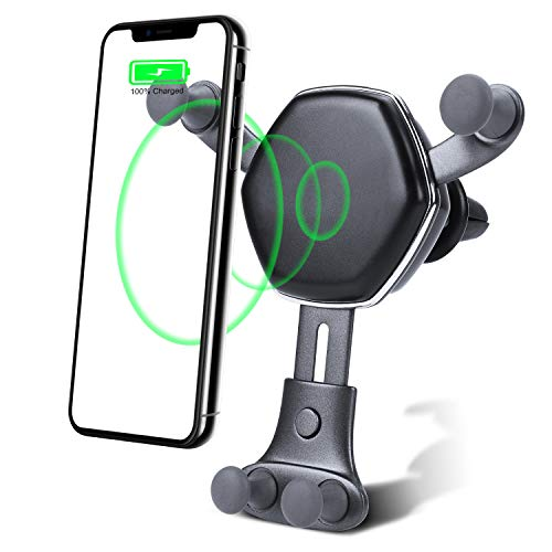 Wireless Car Charger Mount- auto clamping-10W&7.5W-Fast Charger for Android Phones-Standard Charger for iPhone-Compatible All Phones That Support QI Wireless Charging