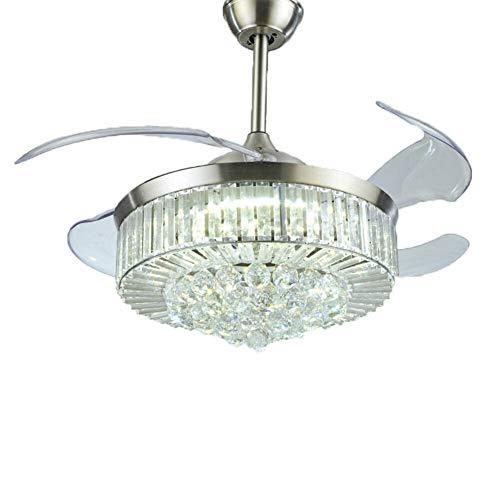 Ventilador de 100 cm con 4 aspas retráctiles y mando a distancia regulable LED Crystal Fan lámpara de techo moderna para salón, dormitorio