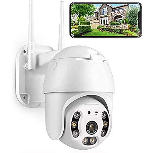 Cámara Vigilancia Exterior 1080P Inalámbrica IP cámara, Objetivos giratorios, Audio bidireccional, Modo Noche a Infrarrojos, Compatible con iOS Android PC