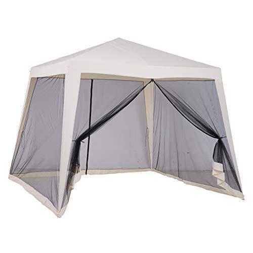 Outsunny Gartenpavillon Pavillon Festzelt Partyzelt wetterfest Zelt mit Moskitonetz Metall + Polyester Beige 3 x 3 m