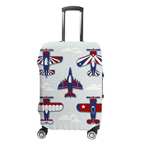 CHEHONG Maleta cubierta de equipaje divertido aviones dibujos animados infantil carrito de viaje funda protectora lavable, fibra de poliéster elástica a prueba de polvo para 45 a 76 cm