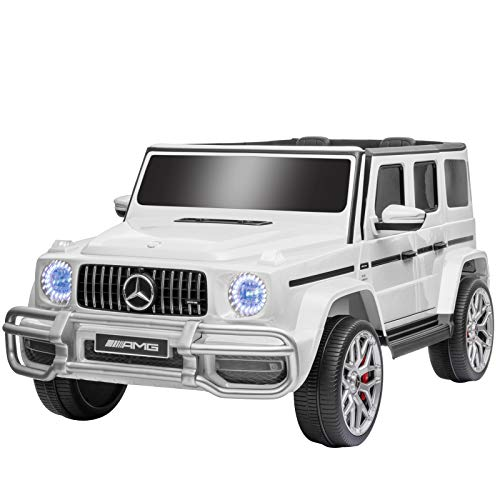Uenjoy 12V 2 Seats Mercedes Benz G63 Kids Ride On Car Electric Cars Motorized Vehicles with Remote Control, Music, Horn, Spring Suspension, Safety Lock, LED, AUX, USB, FM, Bluetooth, White