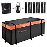 """MeeFar Hitch Mount Cargo Carrier Bag Soft Shell 100% Waterproof 20 Cubic Feet (59"""" 24"""" 24"""") Include 8 Reinforced Straps for Truck Pickup All Vehicle with Steel Cargo Basket"""