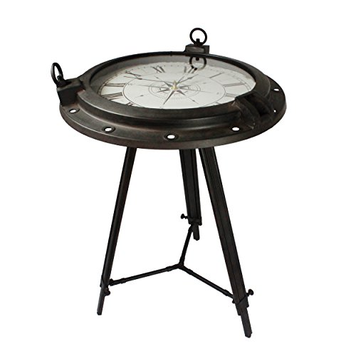 Urban Designs Industrial Porthole Metal Round Clock Coffee & End Table, Brown