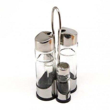 LS Kitchen - Set de Vinagrera y Aceitera - Acero Inoxidable y Cristal - 4 Piezas