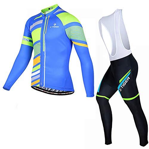 Ciclismo Maillot Hombres Jersey Pantalones Largos Jersey Culote Mangas Largas de Ciclismo...