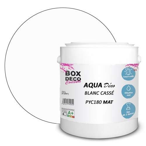 Peinture acrylique aspect mat Aqua déco - Murale - 44 couleurs - 2,5 L - 25 m² (Blanc cassé)