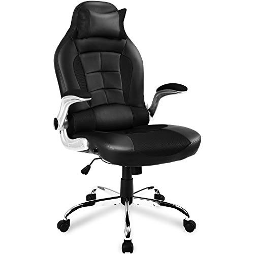 BTM Gaming Chair Racing Sport Recliner Computer Chair PC Desk Chair Home Office High Back Adjustable Swivel PU Leather Ergonomic Design Executive (Black)