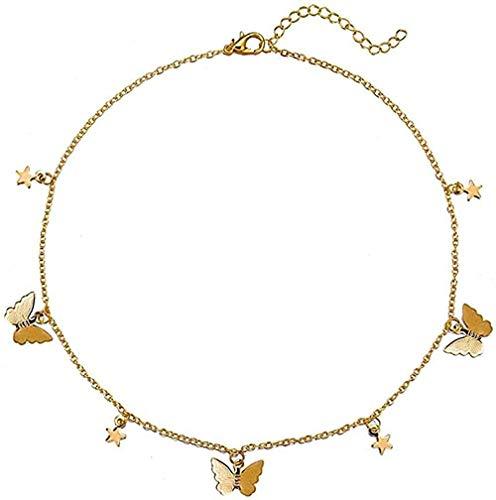 Collar Mujer Collar Hombre Collar Collar Acrílico Mariposa Colgante Collares para Mujeres Niñas Brillante Lindo Collar Elegante Gargantilla Joyería de Verano Niñas Niños Collar