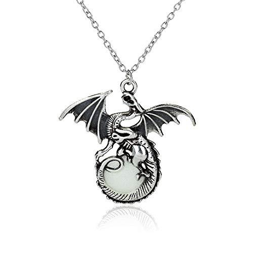 Leuchtende Halskette Glowing Retro Dragon Anhänger Halloween Ornament Ancient Silver + Blue Green Luminous