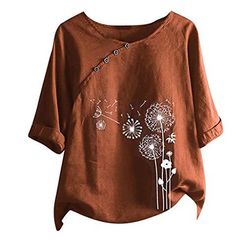 Women Summer Cotton Linen Tshirt Tops Trendy Dandelion Print Casual Loose Fit Tunic Tee Lady Plus Size Crewneck Blouse