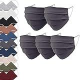 EllaTex 5er Pack Mund-Nasenschutz Masken/Atemschutz Maske Behelfsmaske Baumwolle WASCHBAR WIEDERVERWENDBAR in 10 Farben verfügbar, Farbe:Anthrazit-Grau