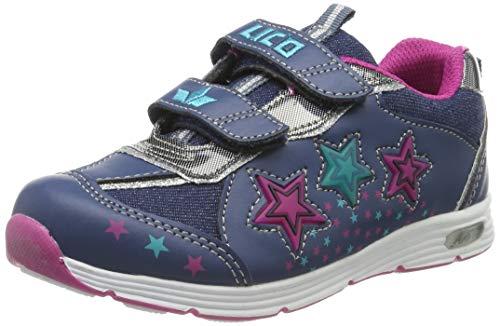 Lico Jungen Mädchen Lukida V Blinky Sneaker, Blau (Marine/Pink/Türkis), 27 EU