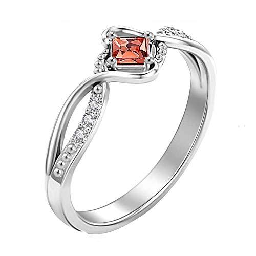 Soufeel Damen Ring Personalisiert mit Swarovski Zirkonia Stein Geburtsstein Rhodiniert 925 Sterling Silber (Steine wählbar) Geschenk für Valentine Jahrestag Geburtstag