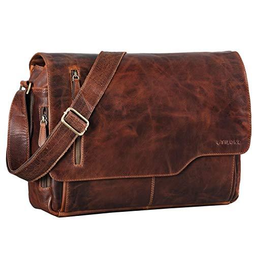 STILORD 'Marlon' Ledertasche Herren Business Uni Büro Vintage Umhängetasche groß DIN A4 mit 15.6 Zoll Laptopfach Elegante Aktentasche aus echtem Rinds Leder, Farbe:Florida - braun