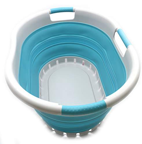 SAMMART - Cesta de lavandería Plegable de plástico con 3 manijas - Contenedor de Almacenamiento emergente Plegable - Tina de Lavado portátil - Cesta de Ahorro de Espacio (Gris/Azul Brillante)