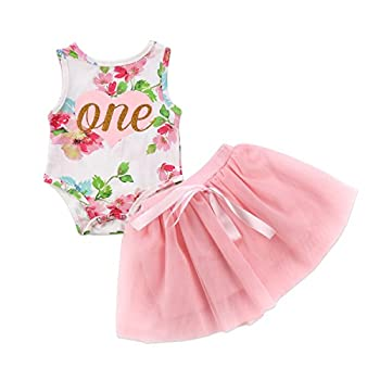 Baby Girls  1st Birthday Tutu Dress Sleeveless Floral Romper Top Lace Skirt Clothes Easter Outfit 2Pcs  Pink 18-24 Months