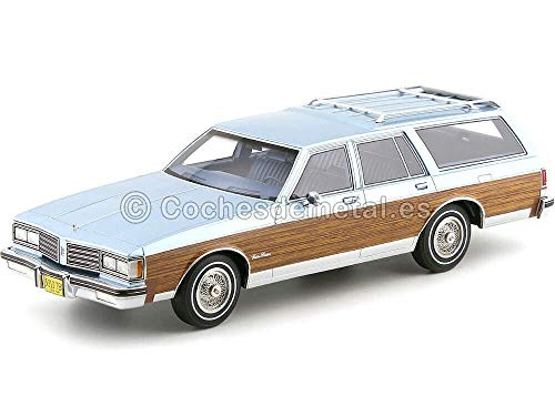 Unbekannt Oldsmobile Custom Cruiser, metallic-hellblau/Holzoptik, 1985, Modellauto, Fertigmodell, BoS-Models 1:18