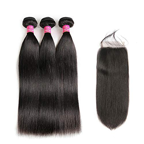 Brazilian Straight Hair Bundles With Closure 3 Bundles Unprocessed Virgin Human Hair Bundles With Lace Closure Free Part Hair Extensions Natural Color (10 12 14+10',Free Part)