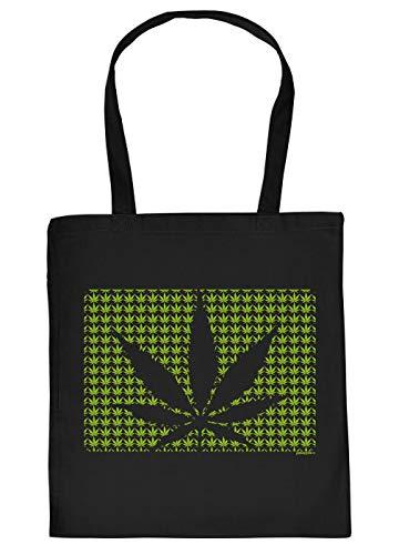 Cannabis Spruch/Motiv Tasche - Baumwolltasche Kiffer : Cannabis - Tragetasche Grass/Weed/Hanf - Farbe: Schwarz